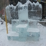Ice podium for the winners of the competitions.