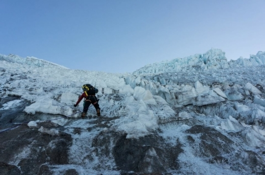Me climbing up the first section of ice