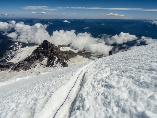 Descending the DC/Muir route with Tahoma in the background