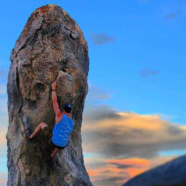Bouldering in the Alabama Hills after climbing Mount Whitney.