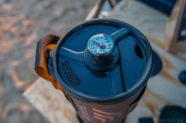 A pointy espresso thermometer fits nicely in the lid hole. The Best Camping Coffee Maker & How to Make Coffee While Camping