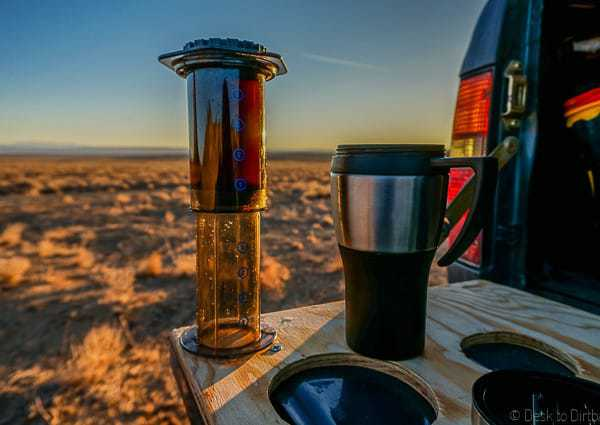 How to make coffee while camping with the Aeropress.