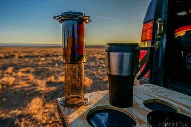 How to make coffee while camping with the Aeropress, the best camping coffee maker