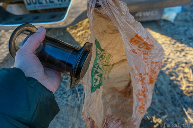 Plunge the filter and puck straight into your garbage bag. The Best Camping Coffee Maker & How to Make Coffee While Camping