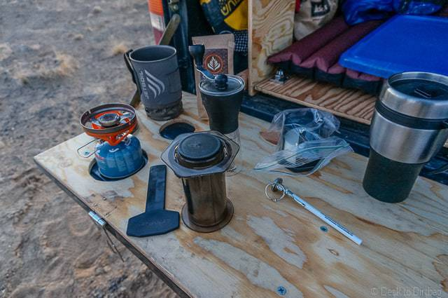 Supplies needed to make the World's Best Cup of Coffee on your tailgate, while camping, or while traveling.
