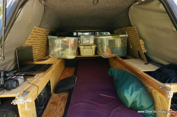 My bed setup for base camp mode--you put your feet under the back shelf in order to sleep.