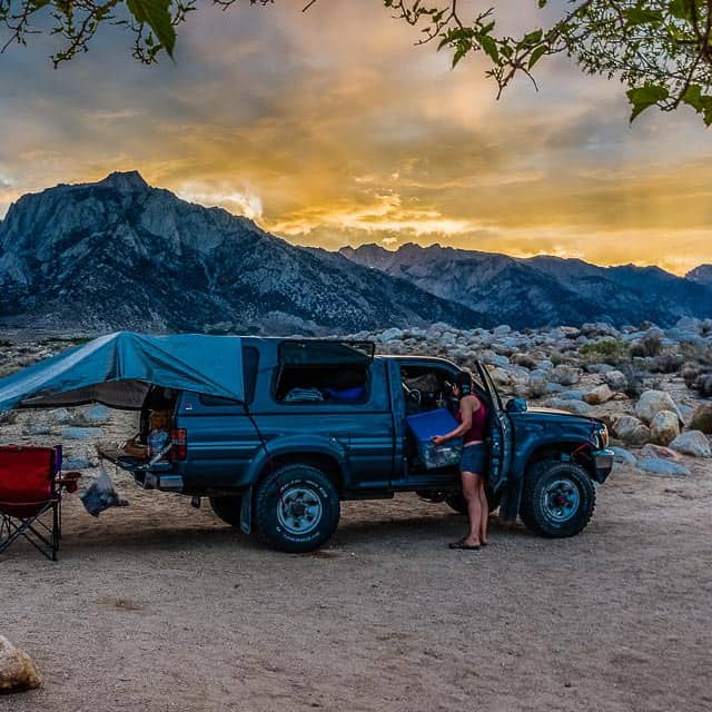 Truck camping beneath the Sierras in Lone Pine, California.