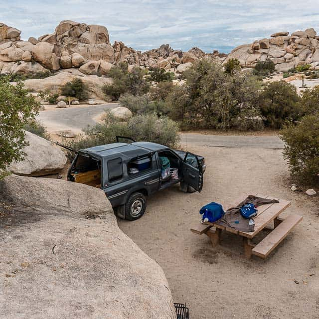 Camped among the boulders in Hidden Valley in Joshua Tree National Park.