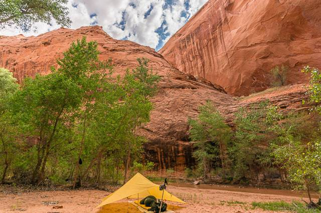 My campsite along Coyote Gulch with the MLD TrailStar - Backpacking Coyote Gulch in Grand Staircase Escalante