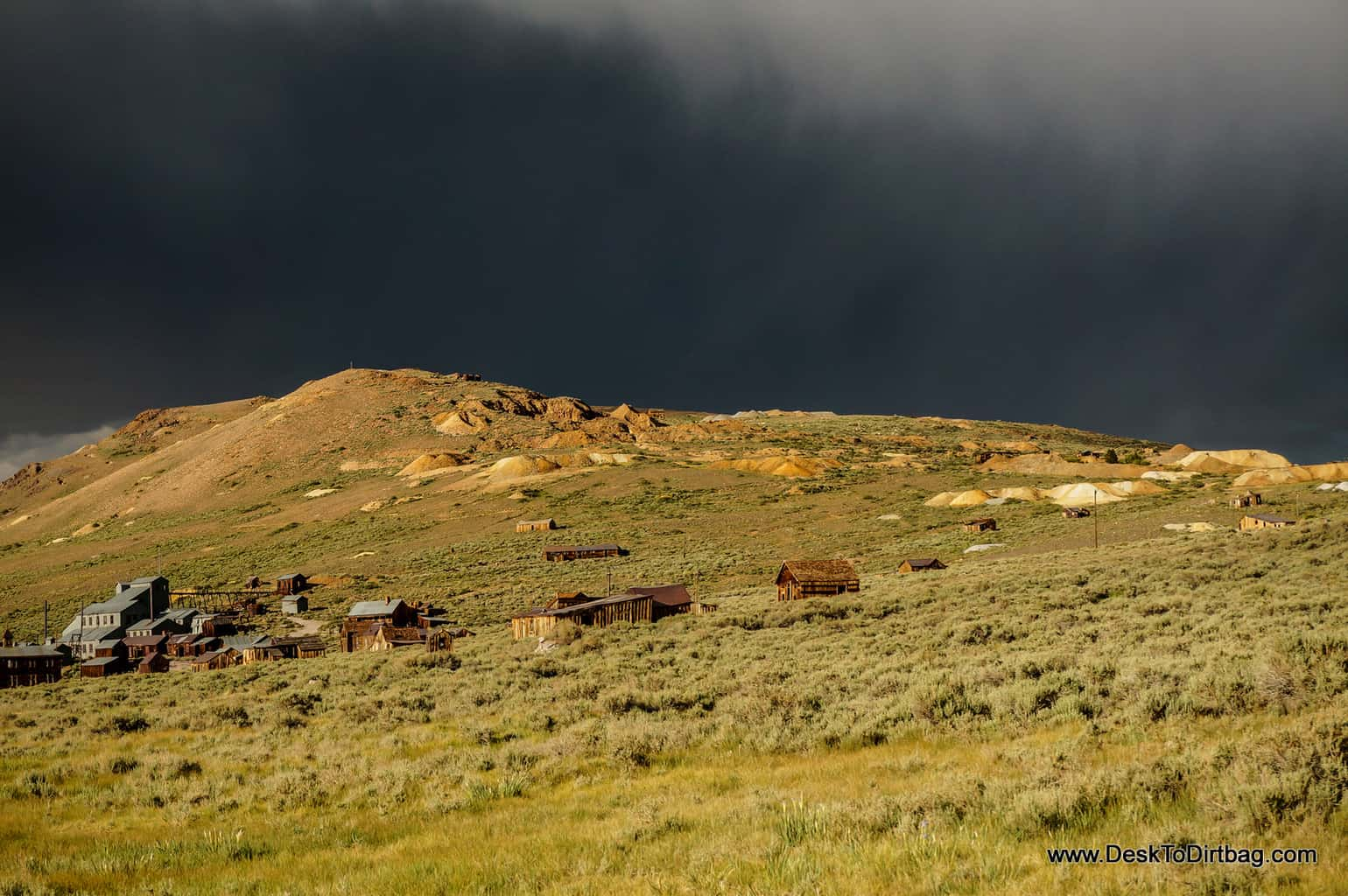 A storm rises over Bodie, California, a small ghost town located in the hills of the Sierra Nevadas.