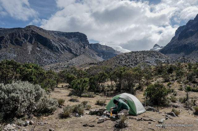 Setting up camp near Lago Pintado. - Sierra Nevada del Cocuy Colombia