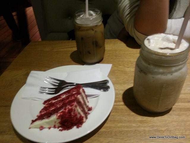 Red velvet cake and coffee at Pergamino