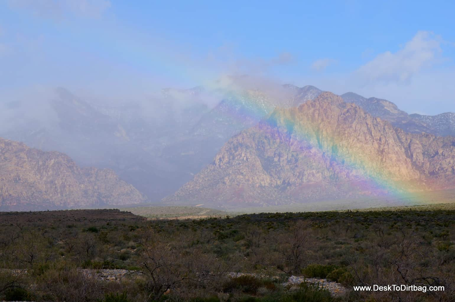 Rainbow over Red Rocks, just outside of Las Vegas, Nevada.