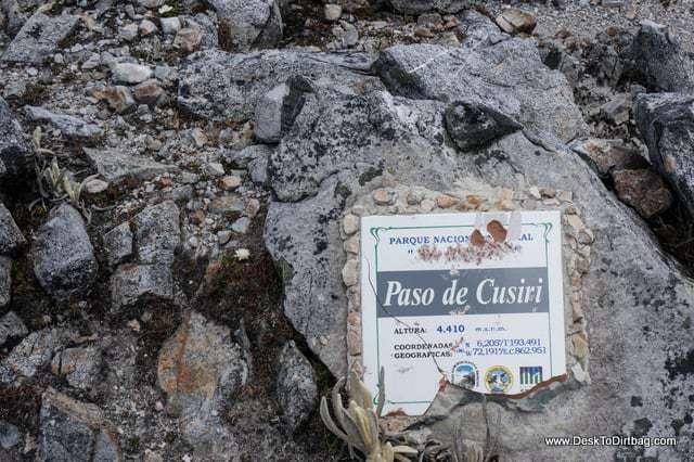 Paso de Cusiri, 4,410 meters. - Sierra Nevada del Cocuy Colombia