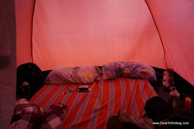Our rental tent with comfy sleeping mats, pillows and sheets.