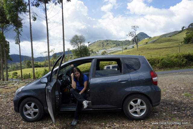 Andrea and her little car - things to do in jardin colombia