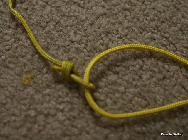 Close up of the attachment I tied on the loop of cord to adjust the bottom.