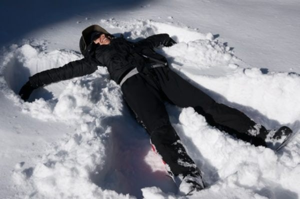 Andrea making a snow angel.