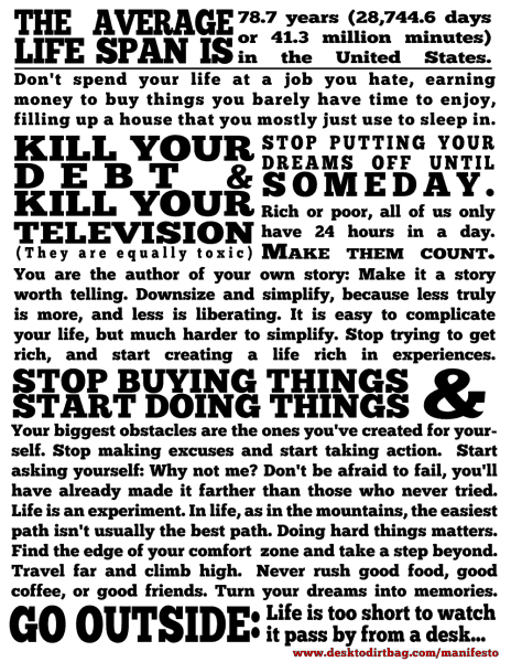 Dirtbag Manifesto - How I Aim to Live My Life via www.desktodirtbag.com