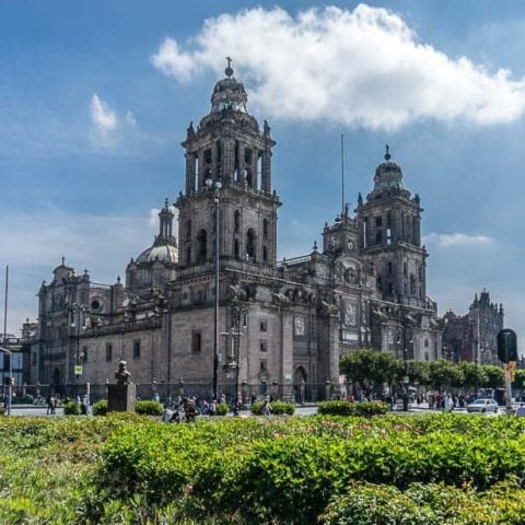 Metropolitan Cathedral beside the Zocalo in Mexico City.