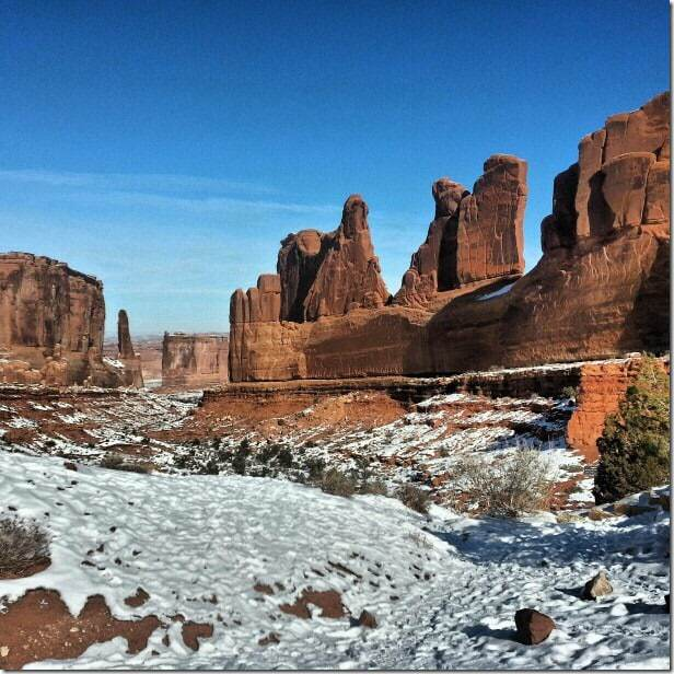 Exploring Arches National Park with snow on the ground - 49 Places to Visit on the Ultimate West Coast Road Trip
