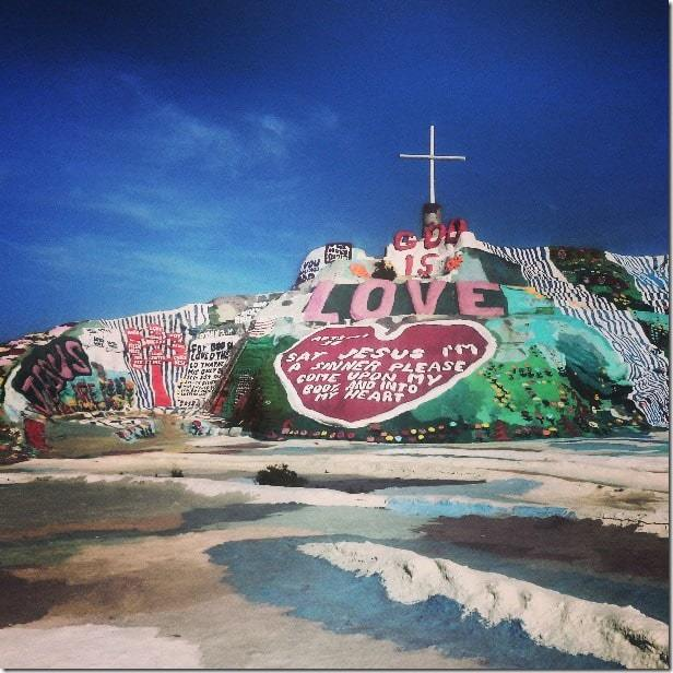 Explore the oddities like Salvation Mountain around the Salton Sea in California