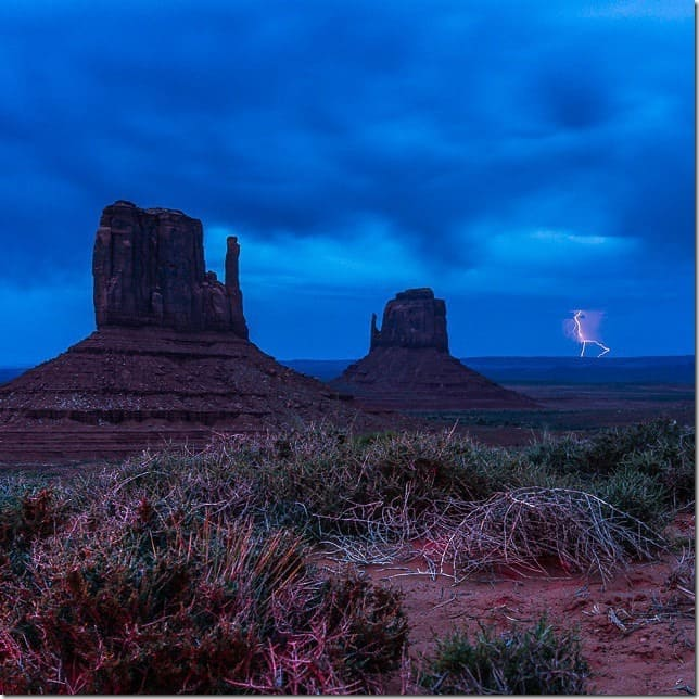 Lightning strike near Monument Valley