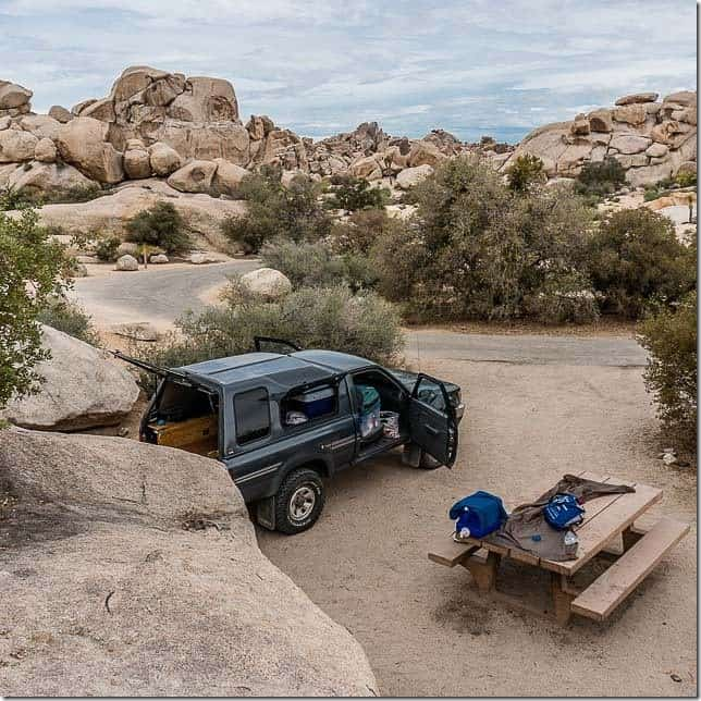 Camp among the boulders in Hidden Valley - Joshua Tree National Park