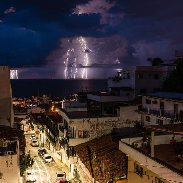 Lightning strikes over the ocean from Puerto Vallarta