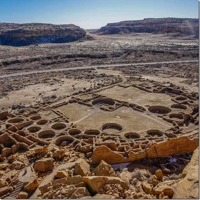 View from the cliff band back down on to Pueblo Bonito, the largest of the structures in Chaco Canyon. - 49 Places to Visit on the Ultimate West Coast Road Trip