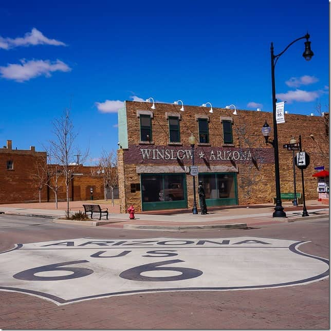 Drive along the historic Route 66 in Winslow Arizona