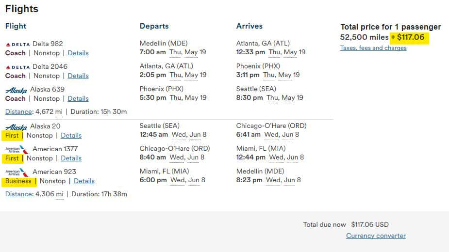 MDE to SEA flight for $117.06 -- how is that for a cheap first class ticket?