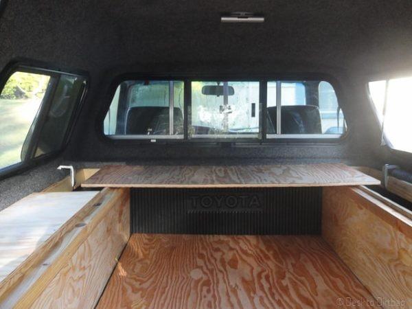Truck camper backshelf mode