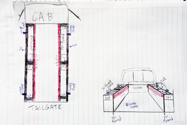 Sketch of my ultimate DIY truck camper build