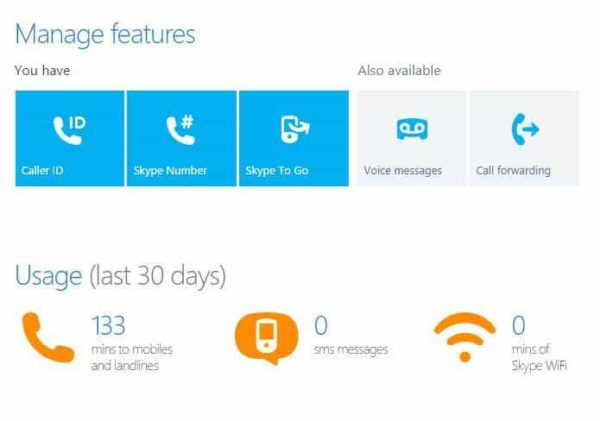 Skype manage features area