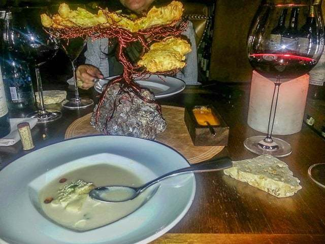 The bread tree along with a soup from the Colombian coast