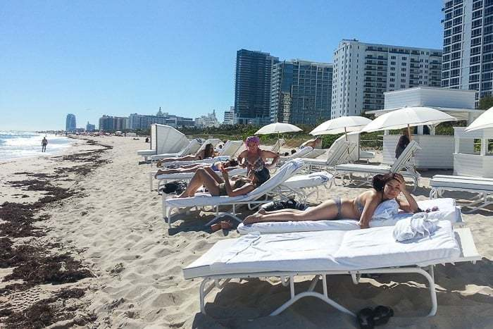 Small little private beach at the Metropolitan by COMO Miami Beach