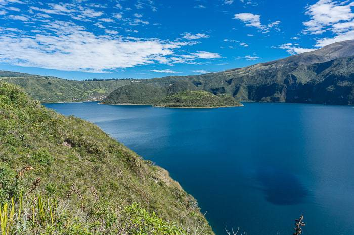 Stunning blue waters at Cuicocha Lake