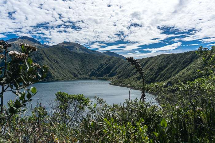 View of Cuicocha Lake in northern Ecuador