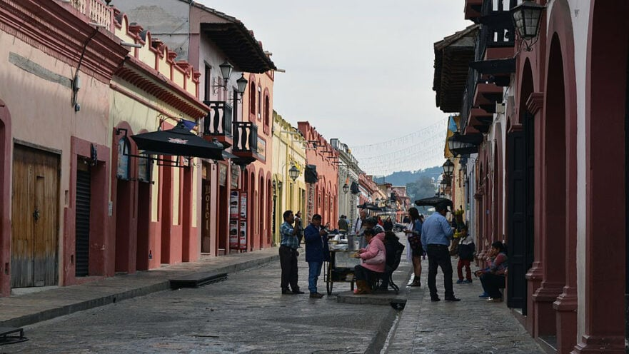 People eating on the street in San Cristobal de Las Casas Mexico