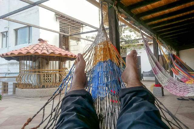 Hanging out in a rooftop hammock - Things to do in Santa Marta Colombia