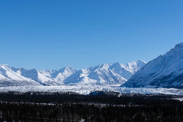 The impressive Matanuska Glacier seen from a distance - Places to Visit in Alaska