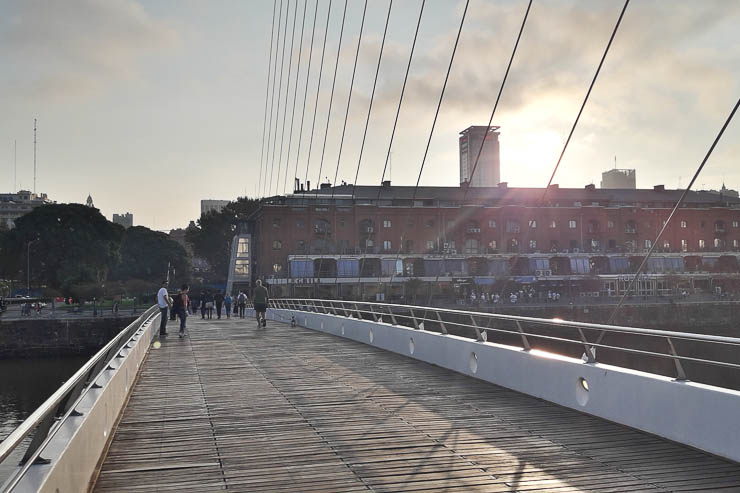 Crossing the pedestrian Puente de la Mujer - The Top 18 Things to Do in Buenos Aires