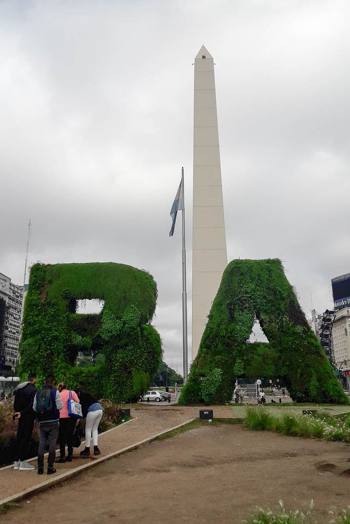 BA sign with the Obelisk - The Top 18 Things to Do in Buenos Aires