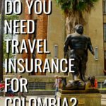 Fernando Botero Statue with the text Do you need travel insurance for Colombia?