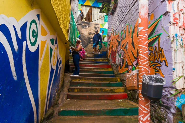 Steps and street art in Moravia Medellin on a Barrio Transformation Tour