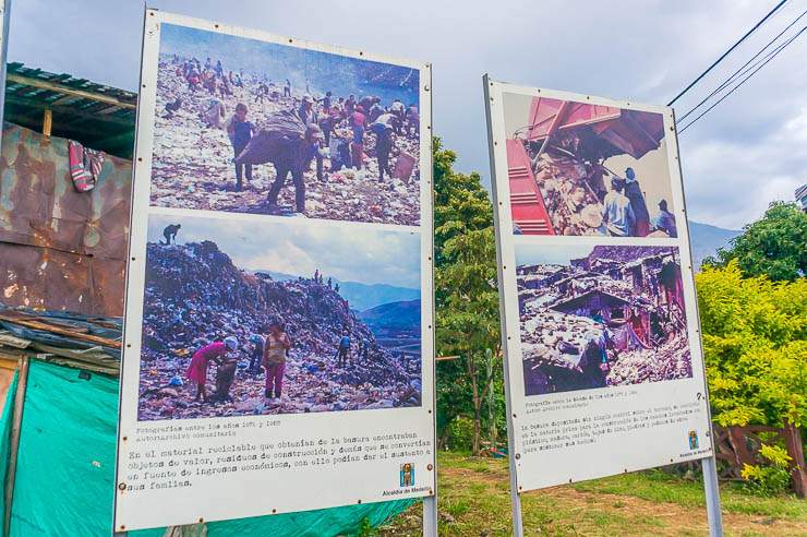 Photos depicting the garbage dump that was Moravia before, what a stark example of a transformation tour in Medellin