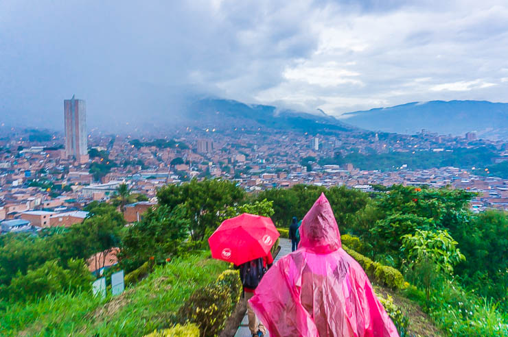 Hiking down from Morro de Moravia in Medellin as the rain begins to fall