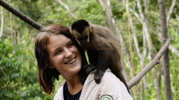 Volunteering Abroad bolivia lora with capuchin monkey