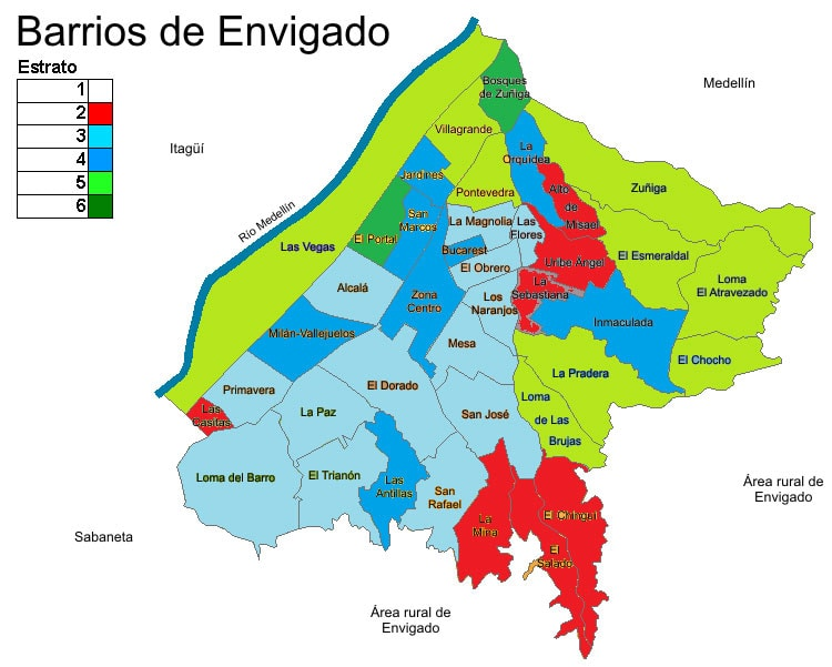 Map of Envigado Neighborhoods